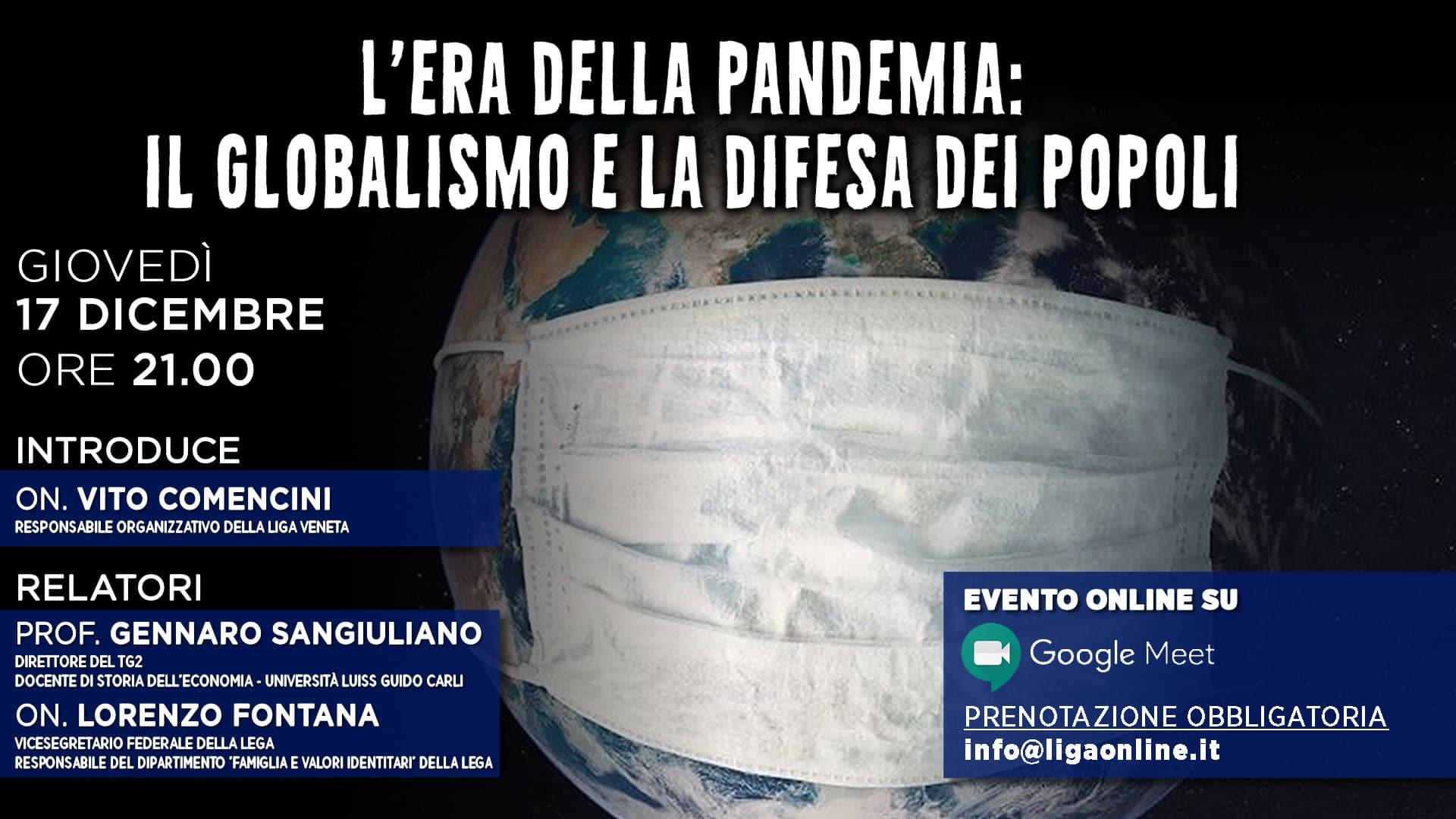 """Banner evento """"L'ERA DELLA PANDEMIA: IL GLOBALISMO E LA DIFESA DEI POPOLI"""""""